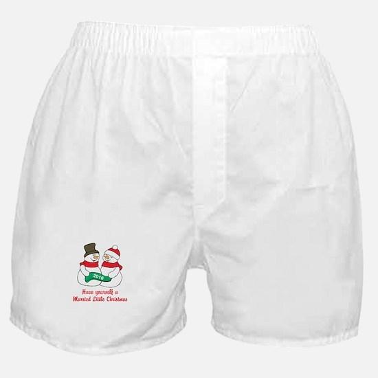 2016 Newlywed Christmas Boxer Shorts