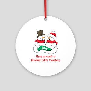 2016 Newlywed Christmas Round Ornament