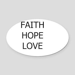 3-faith,hope Oval Car Magnet
