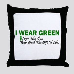 Green For Son Organ Donor Donation Throw Pillow