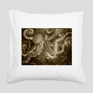 The Kraken Sepia Square Canvas Pillow