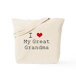 I Heart My Great Grandma Tote Bag