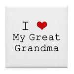 I Heart My Great Grandma Tile Coaster