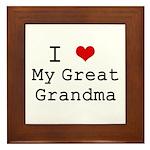 I Heart My Great Grandma Framed Tile
