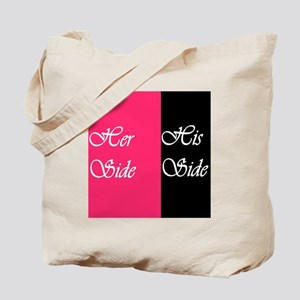 Her Side: His Side Pink/blk Tote Bag