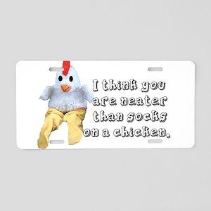 Socks on a chicken Aluminum License Plate