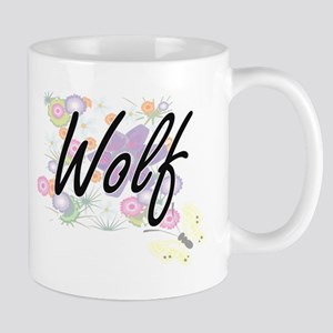 Wolf surname artistic design with Flowers Mugs
