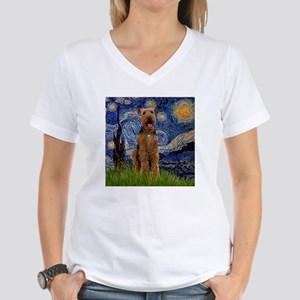 5.5x7.5-Starry-Airedale3 Women's V-Neck T-Shir