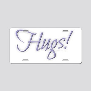 Hugs - Purple Aluminum License Plate