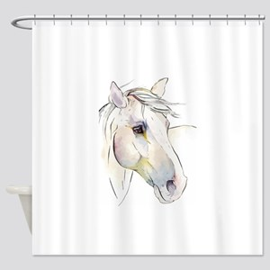 White Horse Eyes Shower Curtain