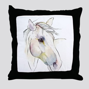 White Horse Eyes Throw Pillow