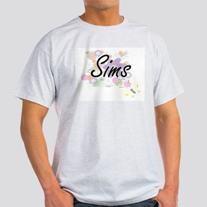 Sims surname artistic design with Flowers T-Shirt
