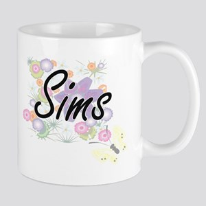 Sims surname artistic design with Flowers Mugs