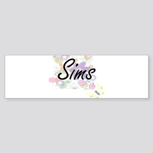 Sims surname artistic design with F Bumper Sticker