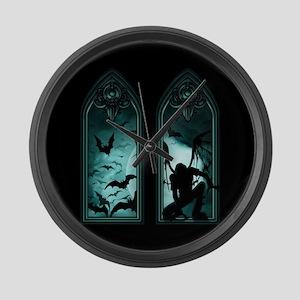 Gothic Bat Windows 2 Large Wall Clock