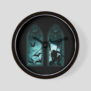 Gothic Bat Windows 2 Wall Clock