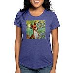 TILE-Irises-Basenji Womens Tri-blend T-Shirt