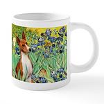 TILE-Irises-Basenji 20 oz Ceramic Mega Mug