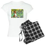 TILE-Irises-Basenji Women's Light Pajamas