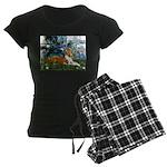 TR-Lilies1-Basenji-liedown.PNG Women's Dark Pajama