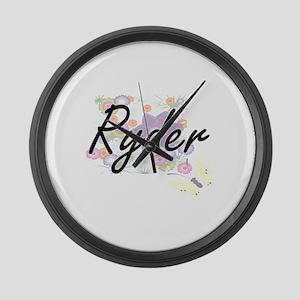 Ryder surname artistic design wit Large Wall Clock