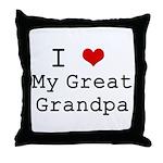 I Heart My Great Grandpa Throw Pillow