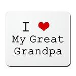 I Heart My Great Grandpa Mousepad