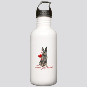 Love You More! Cattle Dog Water Bottle