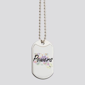 Powers surname artistic design with Flowe Dog Tags