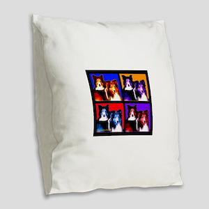Sheltie Pup Art Burlap Throw Pillow