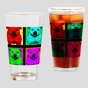 Pitt Bull Pup Art Drinking Glass