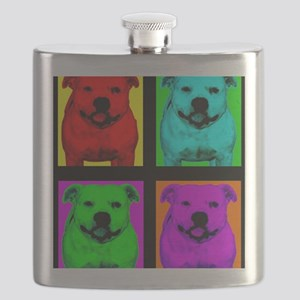 Pitt Bull Pup Art Flask