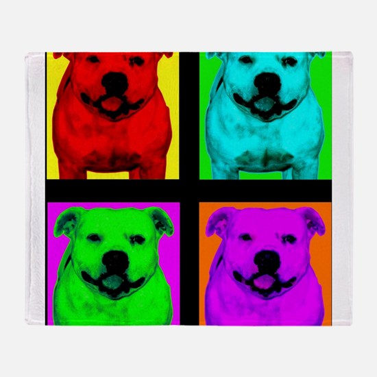 Pitt Bull Pup Art Throw Blanket