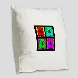 Pitt Bull Pup Art Burlap Throw Pillow