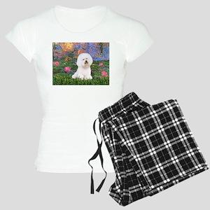 MP-LILIES4-Bichon1-nc Women's Light Pajamas