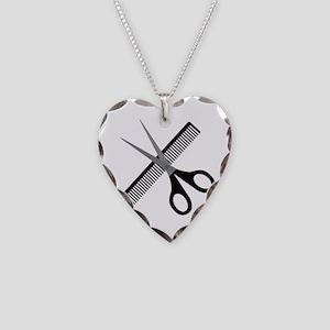 scissors & comb Necklace Heart Charm
