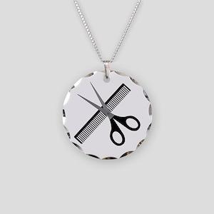 scissors & comb Necklace Circle Charm