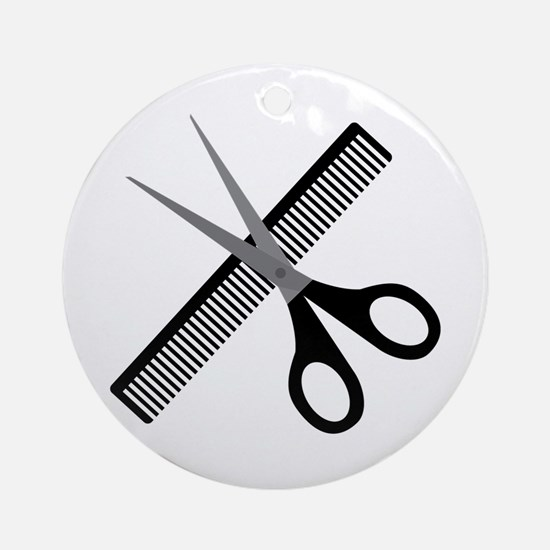 scissors & comb Round Ornament