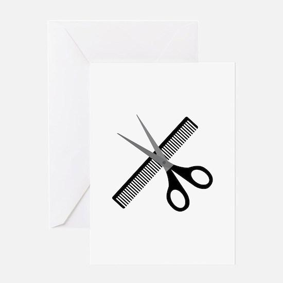 scissors & comb Greeting Cards