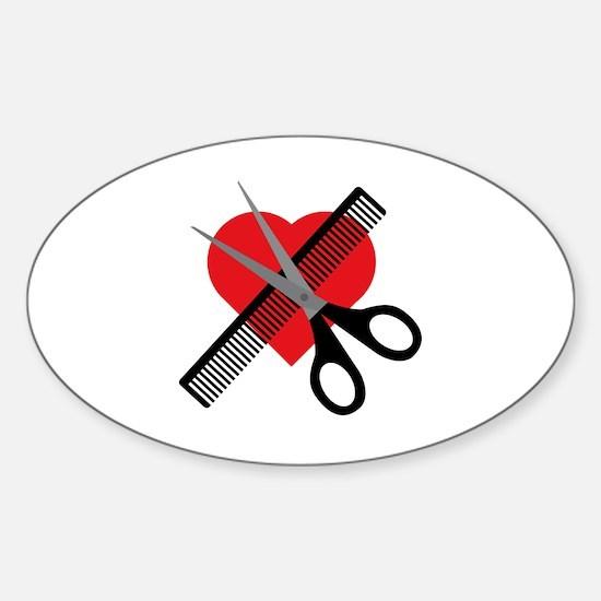 scissors & comb & heart Decal