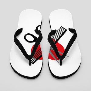 scissors & comb & heart Flip Flops