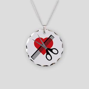 scissors & comb & heart Necklace Circle Charm