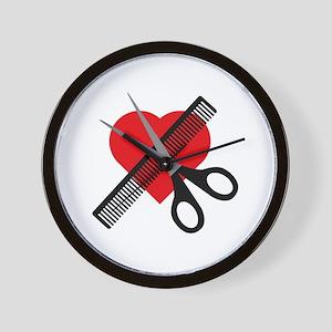 scissors & comb & heart Wall Clock