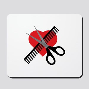 scissors & comb & heart Mousepad