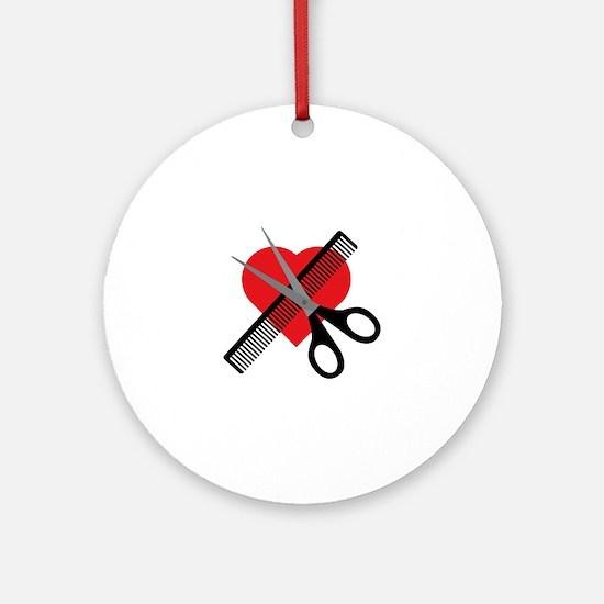 scissors & comb & heart Round Ornament