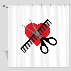 Scissors Comb Heart Shower Curtain