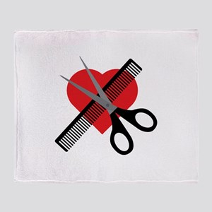 scissors & comb & heart Throw Blanket