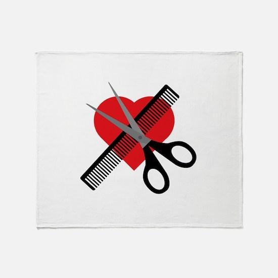 scissors & comb & heart Throw Blanket