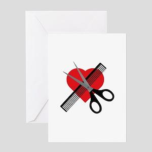 scissors & comb & heart Greeting Cards