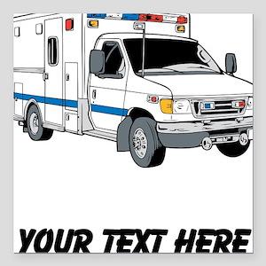 """Ambulance (Custom) Square Car Magnet 3"""" x 3"""""""